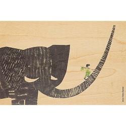 CARTE EN BOIS éléphant